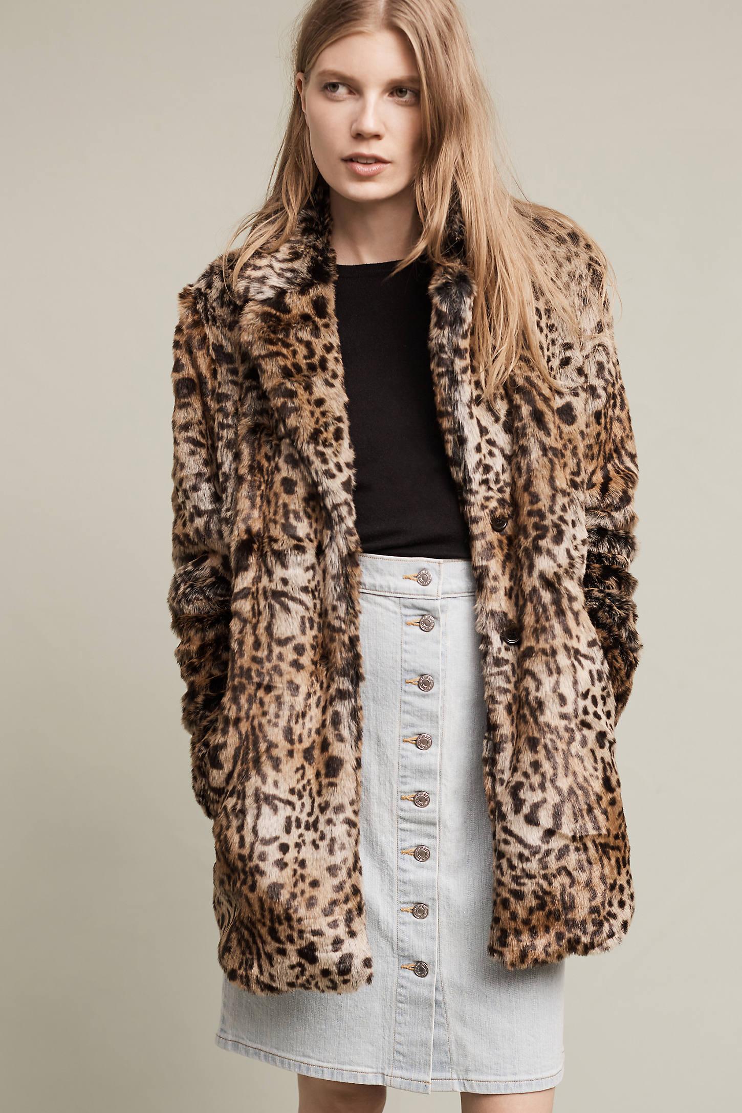 Kate Faux-Fur Leopard Coat