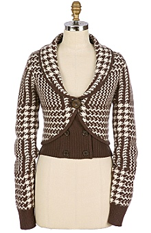 Anthropologie - :  houndstooth sweater double-breasted brown