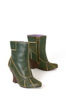 gibson booties :  vintage green style distressed