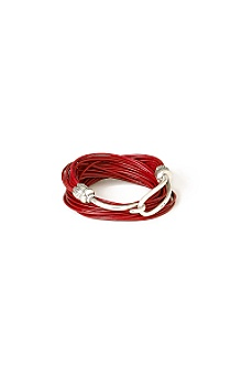 Anthropologie - licorice wrist wrap :  sterling silver leather bracelet red