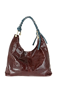 High Brown Leather Gloss Tote w/ Turquoise Accent