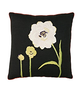 Anthropologie - :  flower pillow black white