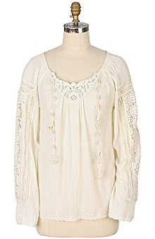 Anthropologie - Birdsong Blouse :  blouses crochet casual white