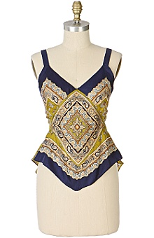 Anthropologie - :  blouse silk navy paisley