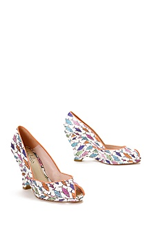 Anthropologie - fish tank platforms :  fish print shoes satin platforms