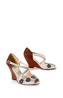 Anthropologie - :  shoes wedge shoe feminine fabric