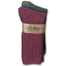 Cotton Crew Socks 3 Pack in Raspberry/Navy/Forest by Maggie\'s Organics