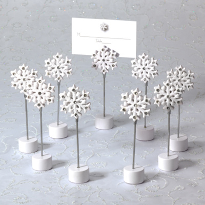 Wedding Places on Snowflake Wedding Place Card Holder With Matching Place Card