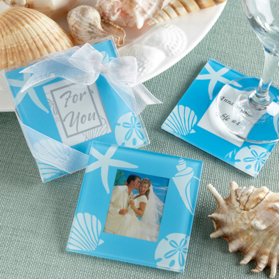 Glass Coaster Wedding Favors on Beach Themed Wedding Coasters   Coaster Wedding Favors
