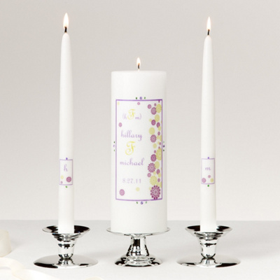 Modern Purple Flower Unity Candle Set You May Also Like You May Also Like