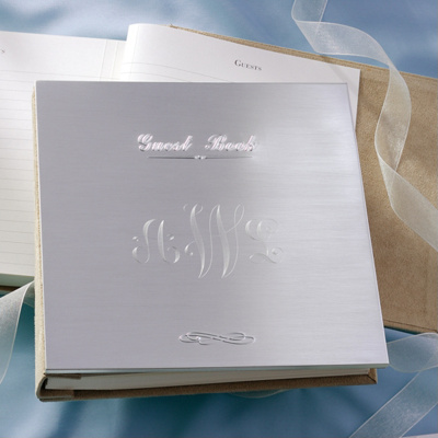 Guest Book Wedding on Sleek Silver Wedding Guest Book   Wedding Guest Book