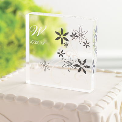 Acrylic Wedding Cake Toppers on Floral Acrylic Wedding Cake Topper   Wedding Cake Topper