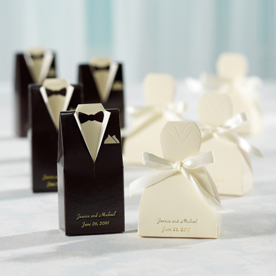 Wedding Favor Samples Sample Ivory Gown and Chocolate Tuxedo Favor