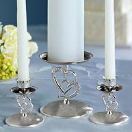 Twin Heart Wedding Unity Candle Holders