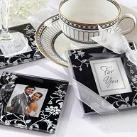 Floral Motif Black & White Coasters