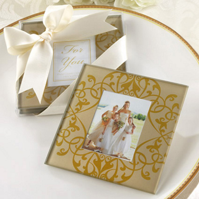 Unusual Golden Wedding Gifts on Golden Brocade Photo Coasters Wedding ...