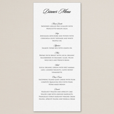 Romantic Shimmer Wedding Menu