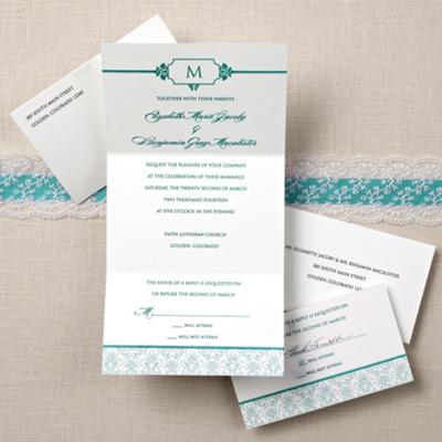 Ecru Monogram Seal Send Wedding Invitation Cheap Wedding Invites