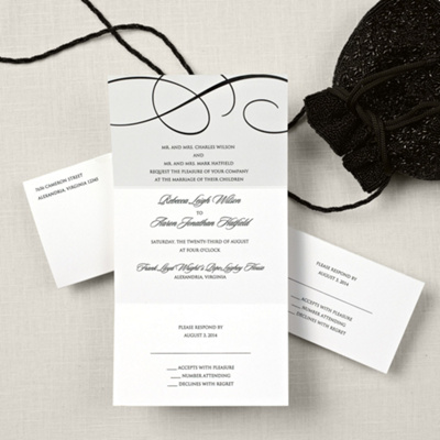 Black Scroll Wedding Invitation Package