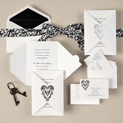 Romantic Damask Wedding Invitation