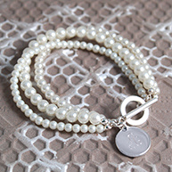 Three Strand Pearl Bracelet with Charm for Mothers