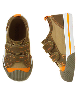 Chocolate Brown Colorblock Canvas Sneaker by Gymboree