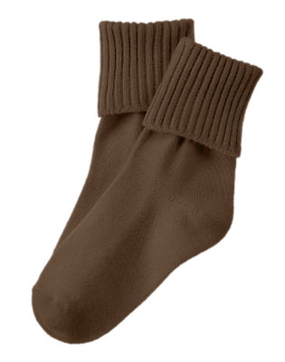 Boys Chocolate Brown Brown Foldover Sock by Gymboree