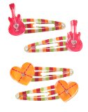 Guitar Heart Snap Clip Four-Pack
