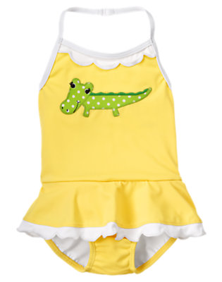 Toddler Girls Lemon Drop Alligator Skirted One-Piece Swimsuit by Gymboree