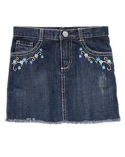 Cornflower Frayed Denim Skirt