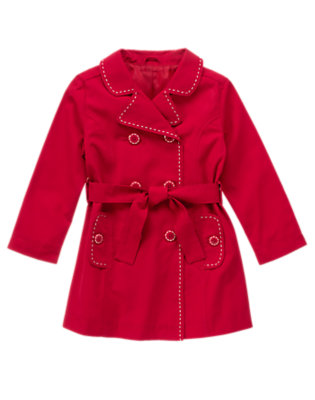 Red Apple Pickstitch Belted Trenchcoat by Gymboree