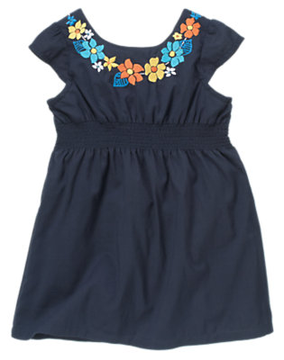 Marine Blue Embroidered Smocked Dress by Gymboree