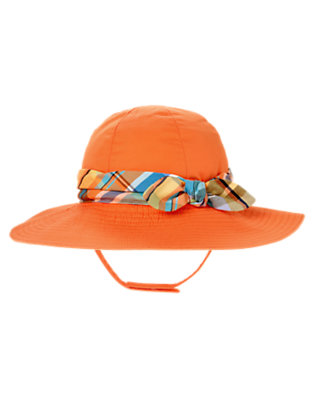 Toddler Girls Orange Lily Banded Plaid Sunhat by Gymboree