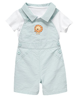 Lion Seersucker Shortall Two-Piece Set