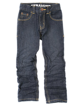 Boys Dark Wash Denim Straight Jean by Gymboree