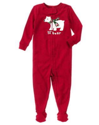 Toddler Boys Cranberry Red Lil' Bear Footed One-Piece Pajama by Gymboree