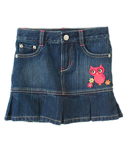 Gem Owl Pleated Jean Skirt
