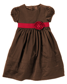 Rosette Taffeta Dress