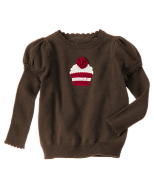 Girls Chocolate Brown Cupcake Double Sleeve Sweater by Gymboree