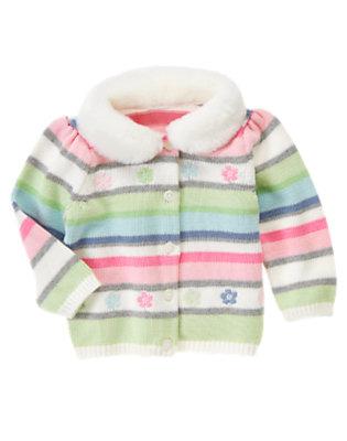 Toddler Girls Starlight Blue Stripe Flower Stripe Faux Fur Collar Cardigan by Gymboree