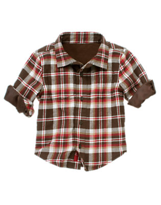 Toddler Boys Java Brown Mini Plaid Lined Plaid Flannel Shirt by Gymboree