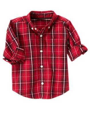 Cranberry Red Plaid Pocket Plaid Shirt by Gymboree
