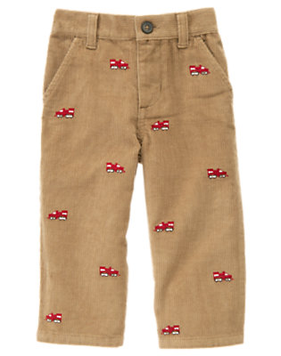 Toddler Boys Light Caramel Train Embroidered Corduroy Pant by Gymboree