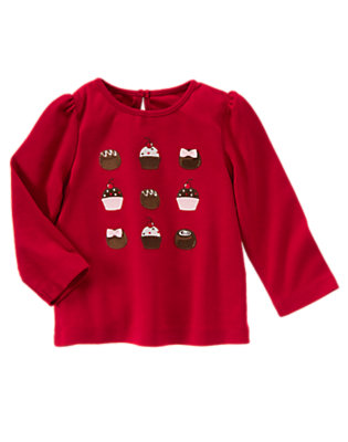 Cranberry Red Bonbon and Cupcake Tee by Gymboree
