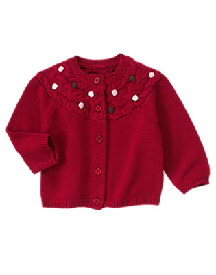Toddler Girls Cranberry Red Bauble Sweater Cardigan by Gymboree