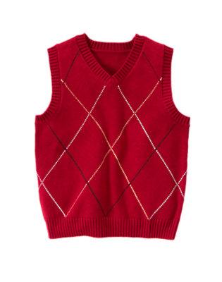Boys Cranberry Red Diamond Sweater Vest by Gymboree