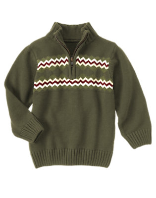 Dark Evergreen Fair Isle Half-Zip Sweater by Gymboree