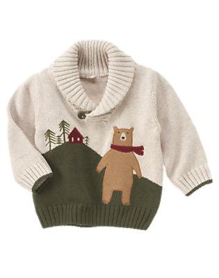 Toddler Boys Light Khaki Bear Shawl Collar Sweater by Gymboree