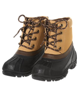 Boys Light Caramel Lace Up Cold Weather Boot by Gymboree