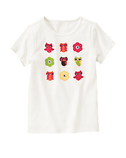Gem Flower Owl Short Sleeve Tee